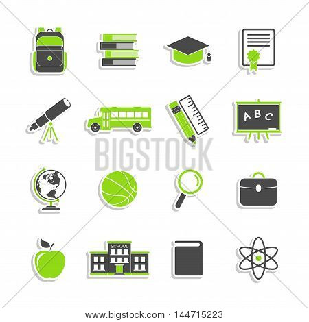 School icons stickers isolated on white background. Education icons collection. Back to school. College training icons symbols in flat style