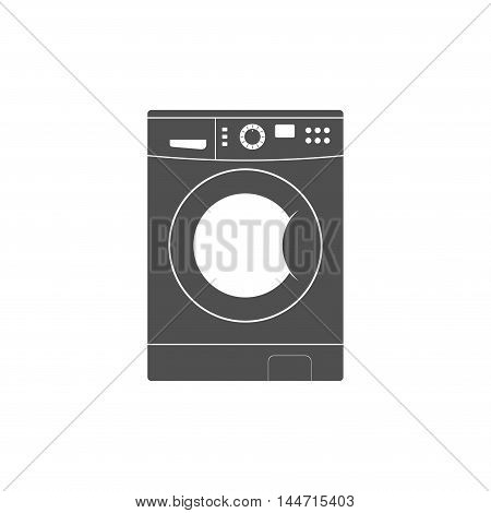Washing machine icon isolated on white background. Equipment housework laundry wash clothes. Washer icon in flat style.