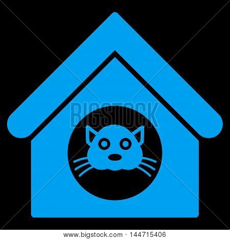 Cat House icon. Glyph style is flat iconic symbol, blue color, black background.