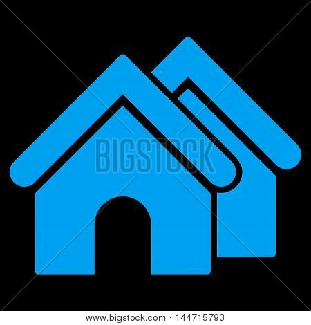 Real Estate icon. Glyph style is flat iconic symbol, blue color, black background.
