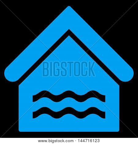 Water Pool icon. Glyph style is flat iconic symbol, blue color, black background.