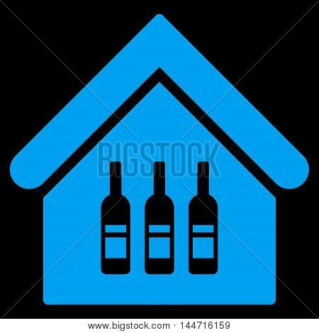 Wine Bar icon. Glyph style is flat iconic symbol, blue color, black background.