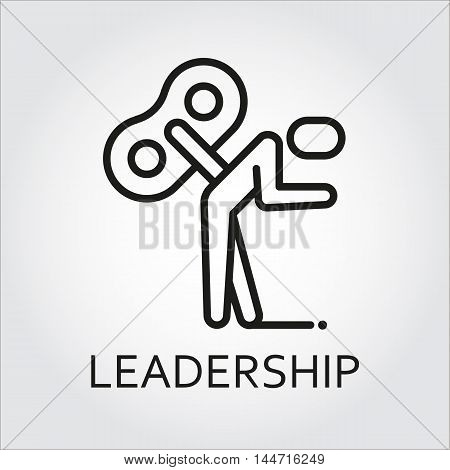 Black flat line vector icon with a picture of leadership as key man on white background.