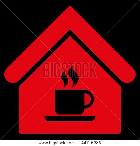 Cafe House icon. Glyph style is flat iconic symbol, red color, black background.