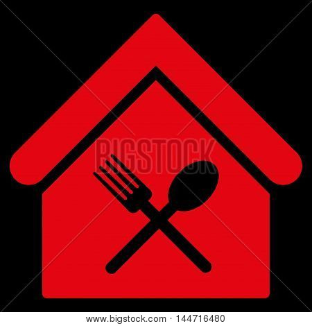 Food Court icon. Glyph style is flat iconic symbol, red color, black background.