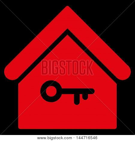 Home Key icon. Glyph style is flat iconic symbol, red color, black background.