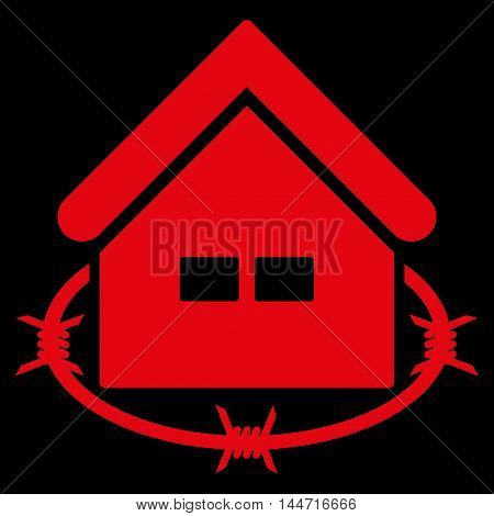 Prison Building icon. Glyph style is flat iconic symbol, red color, black background.