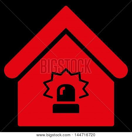 Realty Alarm icon. Glyph style is flat iconic symbol, red color, black background.