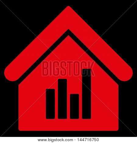 Realty Bar Chart icon. Glyph style is flat iconic symbol, red color, black background.