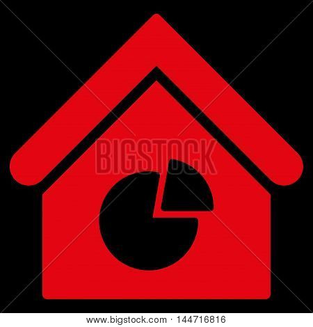 Realty Pie Chart icon. Glyph style is flat iconic symbol, red color, black background.