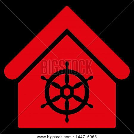 Steering Wheel House icon. Glyph style is flat iconic symbol, red color, black background.