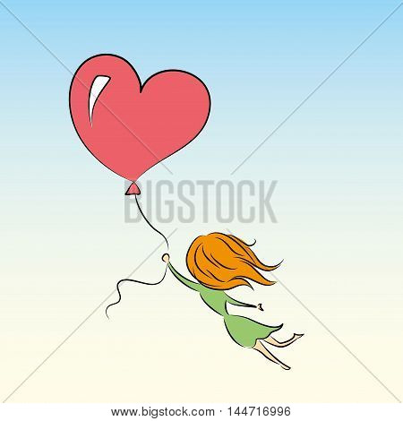 girl is flying on a balloon in the shape of heart, vector illustration