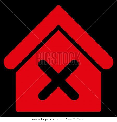 Wrong House icon. Glyph style is flat iconic symbol, red color, black background.