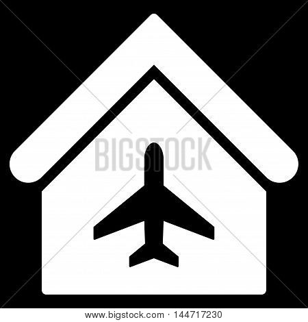 Aircraft Hangar icon. Glyph style is flat iconic symbol, white color, black background.