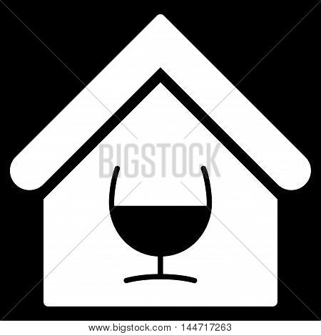 Alcohol Bar icon. Glyph style is flat iconic symbol, white color, black background.