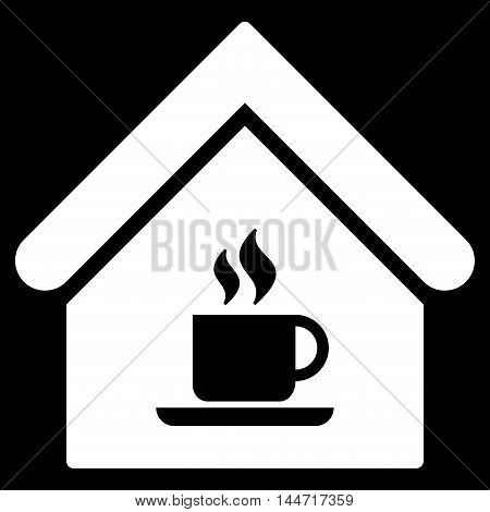 Cafe House icon. Glyph style is flat iconic symbol, white color, black background.