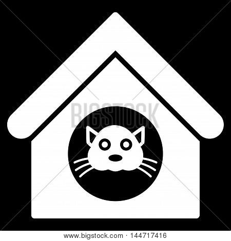Cat House icon. Glyph style is flat iconic symbol, white color, black background.