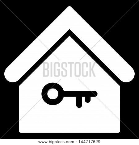 Home Key icon. Glyph style is flat iconic symbol, white color, black background.
