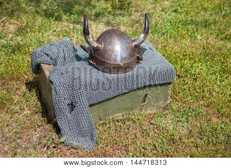 Medieval knight armor with helmet and chain mail