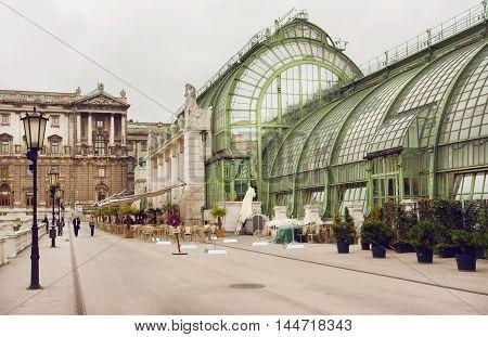 VIENNA, AUSTRIA - JUN 10, 2016: Imperial garden Butterfly House structure - Schmetterlinghaus - built in Art Noveau style on June 10, 2016. Vienna has population near 1.8 million