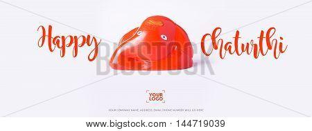 Happy Ganesh Chaturthi Greeting Card showing photograph of lord ganesha idol