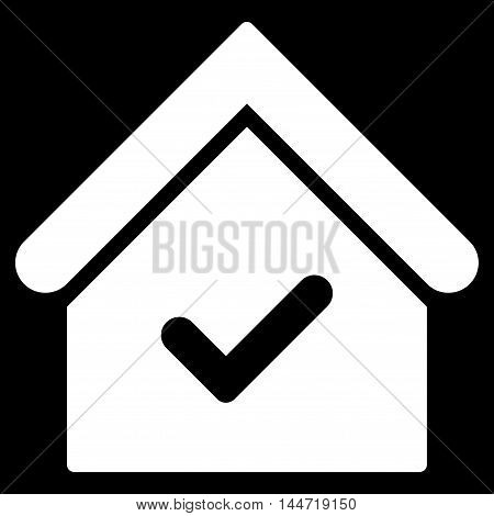 Valid House icon. Glyph style is flat iconic symbol, white color, black background.