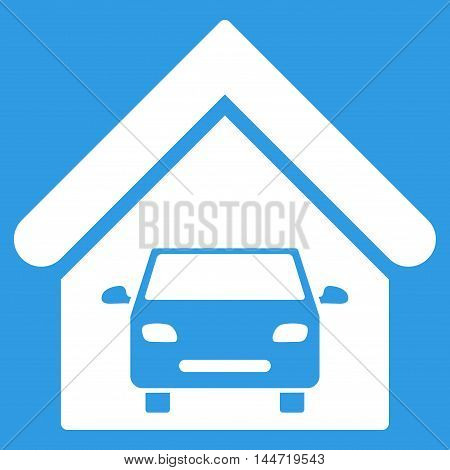 Car Garage icon. Glyph style is flat iconic symbol, white color, blue background.