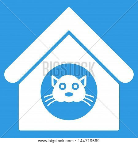Cat House icon. Glyph style is flat iconic symbol, white color, blue background.