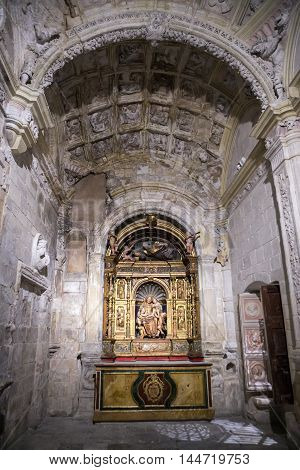 CUENCA SPAIN - August 24 2016: Interior of the cathedral of Cuenca Chapel Muñoz founded by the bishop of the Cathedral Dr. Eustaquio Muñoz altarpiece plateresque of Juan de Alarcón of the middle of the XVIth century Cuenca Patrimony of the humanity ,Spain