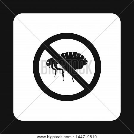 Prohibition sign fleas icon in simple style isolated on white background. Warning symbol