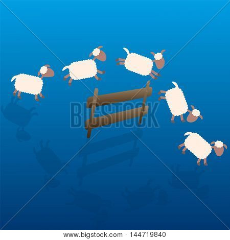 Counting sheep - cartoon illustration of sheep jumping over a wooden fence at night.