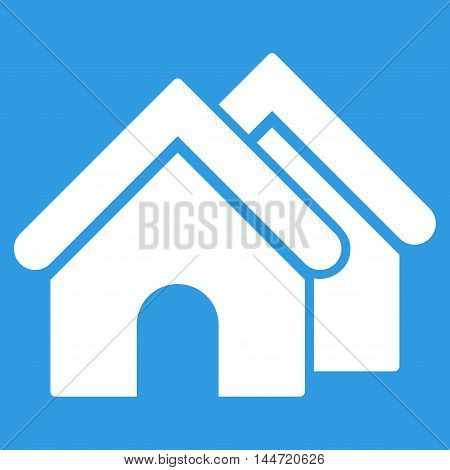 Real Estate icon. Glyph style is flat iconic symbol, white color, blue background.