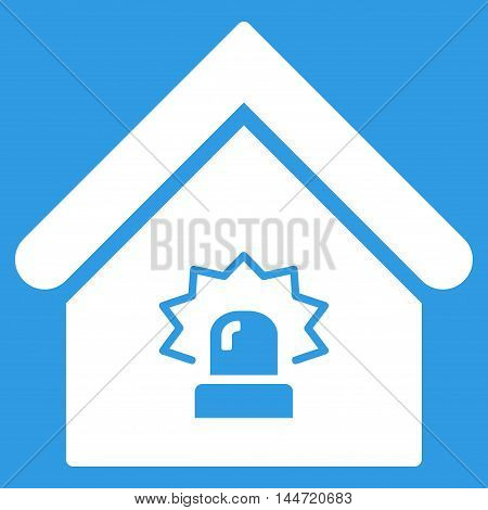 Realty Alarm icon. Glyph style is flat iconic symbol, white color, blue background.