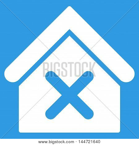 Wrong House icon. Glyph style is flat iconic symbol, white color, blue background.
