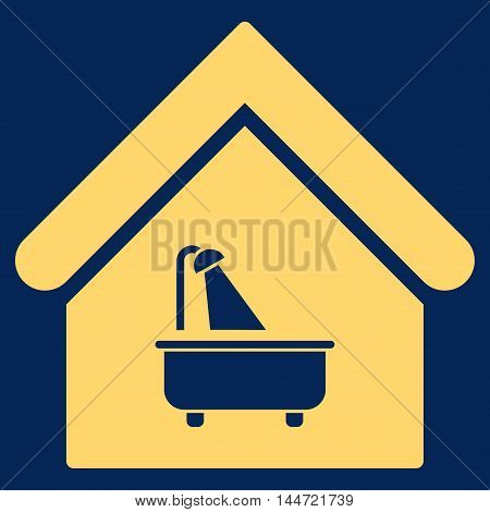 Bathroom icon. Glyph style is flat iconic symbol, yellow color, blue background.