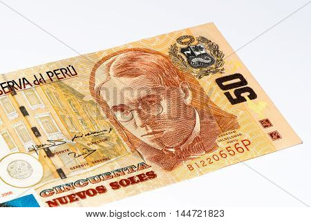 50 soles nuevos bank note. Soles nuevos is the national currency of Peru
