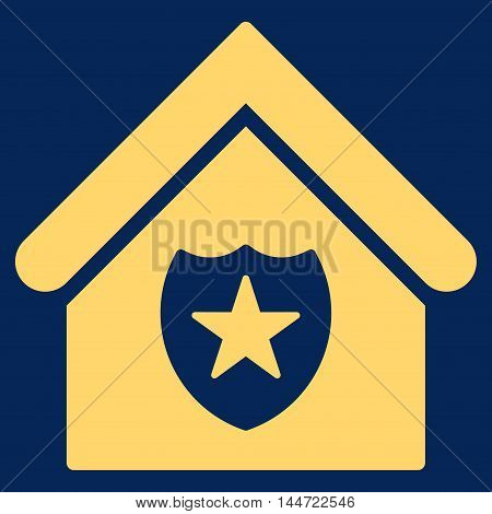 Realty Protection icon. Glyph style is flat iconic symbol, yellow color, blue background.