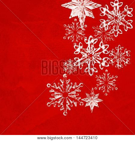 White snowflakes isolated on red Christmas background