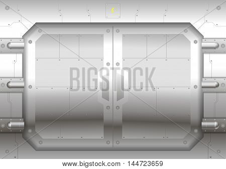 Sliding metal Reservation gateway with sliding doors or gates, exit portal spacecraft or submarine.