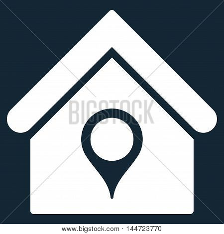 House Location icon. Glyph style is flat iconic symbol, white color, dark blue background.