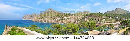 Bay Cala Molins in Cala Sant Vicenc Majorca Spain - panorama view