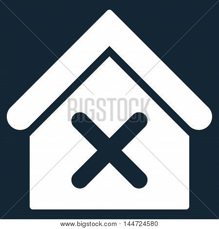 Wrong House icon. Glyph style is flat iconic symbol, white color, dark blue background.