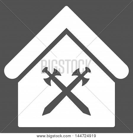 Guard Office icon. Glyph style is flat iconic symbol, white color, gray background.