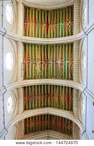 beautiful artistic ceiling in the Cathedral of Madrid