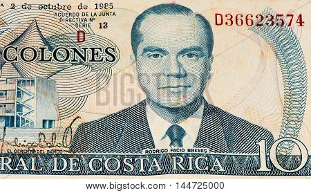 10 Costa Rican colones bank note. Colones is the national currency of Costa Rica