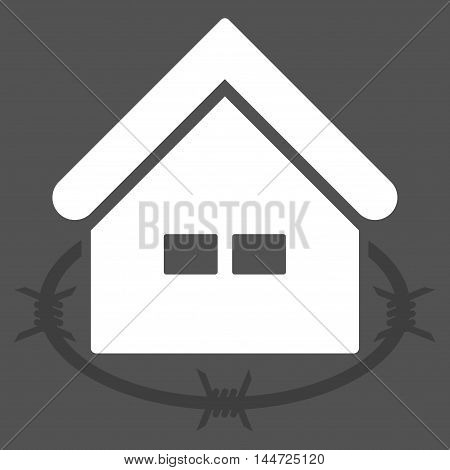 Prison Building icon. Glyph style is flat iconic symbol, white color, gray background.