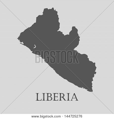 Simple gray Liberia map on light grey background. Gray Liberia map - vector illustration.