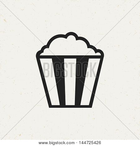 Flat popcorn icon in vintage style. Isolated popcorn icon for use in variety of projects. Minimal vector popcorn icon for web sites and apps.