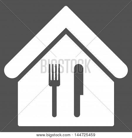 Restaurant icon. Glyph style is flat iconic symbol, white color, gray background.