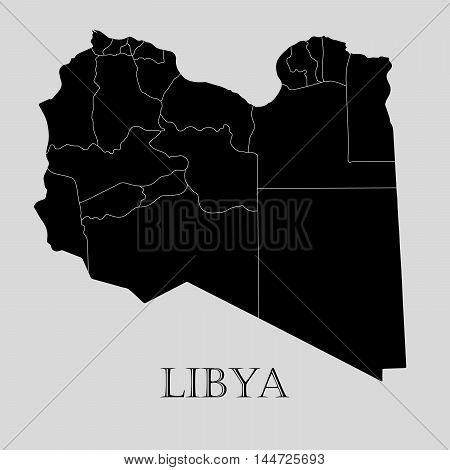 Black Libya map on light grey background. Black Libya map - vector illustration.